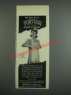 1943 Wolfe & Lang Fortuna Girdle or Pantie Ad