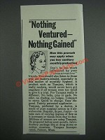 1943 Tampax Tampons Ad - Nothing ventured nothing gained