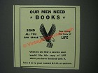 1943 U.S.O. United Service Organizations Ad - Our men need books