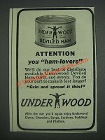 1943 Underwood Deviled Ham Ad - Attention you ham-lovers