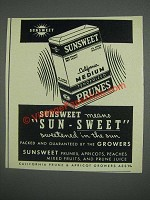 1943 Sunsweet Prunes Ad