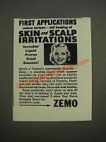 1944 Zemo Skin Care Ad - First applications relieve torture - aid healing