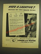 1945 Sunkist Lemons Ad - Need a laxative? Instead try this health drink!