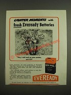 1945 Eveready Batteries Ad - Cartoon by Reamer Keller - Lighter moments