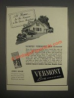 1947 Vermont Publicity Service Ad - for the summer in the green mountains