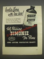 1947 Simoniz For Floors Ad - Lovelier floors with less care
