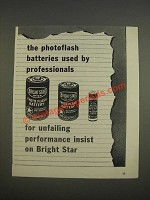 1947 Bright Star Batteries Ad - The photoflash batteries used by professionals