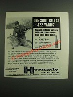 1962 Hornady 150 gr. Secant Ogive Spire Point Bullet Ad - One Shot Kill