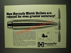1974 Hornady Boat Tail Match Bullets Ad - Even Greater Accuracy