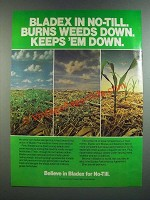 1986 Shell Bladex Ad - Burns Weeds Down Keeps 'em Down