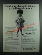 1986 Foster Parents Plan Ad - Achieve a Small Moral Victory