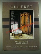1986 Century Chardeau Collection Furniture Ad - Carefully Considered