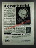 1986 Barnes & Noble Mercury Illuminated Globes Ad - Lights Up in the Dark