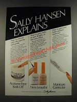 1986 Sally Hansen Ad - Acetone-Free Kwik Off, New Lengths and Manicure Corrector