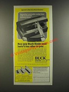 1986 Buck Knives Ad -Cedar Box, Arkansas Honing Stone, 110 Folding Hunter