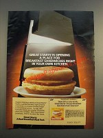 1986 Swanson Great Starts Frozen Breakfast Sandwich Ad