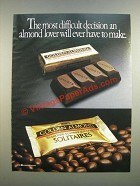 1986 Hershey's Golden Almond Chocolate Bar and Solitaires Ad