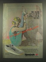 1986 Reebok Freestyle Sneakers Ad - Because Life Is Not a Spectator Sport