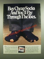 1986 Hanes Socks Ad - Buy Cheap Socks And You'll Pay Through The Toes