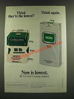1986 Now Cigarettes Ad - Think They're the Lowest?
