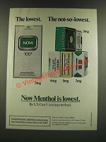 1986 Now Cigarettes Ad - The Lowest. The Not-so-Lowest