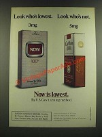 1986 Now Cigarettes Ad - Look Who's Lowest. Look Who's Not