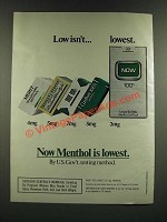 1986 Now Cigarettes Ad - Low Isn't.. Lowet