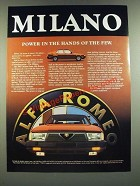 1987 Alfa Romeo Milano Car Ad - Power in the Hands of the Few