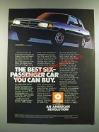 1986 Dodge Aires K Car Ad - The Best Six-Passenger You Can Buy