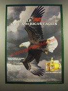 1986 Miller High Life Beer Ad - Help Save America's Eagles