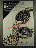 1986 Citizen Chronograph Ad - Show Them Your Time is Valuable