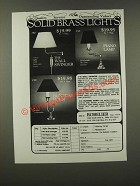 1986 Robelier Solid Brass Lights Ad -Wall Swinger, Piano Lamp, Hunting Horn