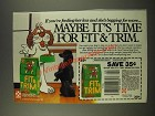 1986 Purina Fit & Trim Dog Food Ad - Maybe It's Time For
