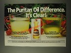 1986 Puritan Oil Ad - The Puritan Oil Difference. It's Clear!