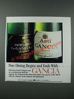 1986 Gancia Extra Brut and Asti Spumante Champagne Ad