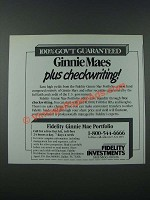 1986 Fidelity Investments Ad - Ginnie Maes Plus Checkwriting