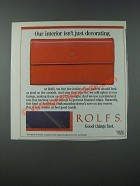 1986 Rolfs Wallets Ad - Our Interior Isn't Just Decorating