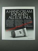 1986 Neutrogena Norwegian Formula Hand Cream Ad - When All Else Fails