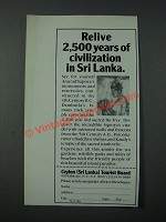 1986 Ceylon Sri Lanka Tourist Board Ad - Relive 2,500 Years of Civilization