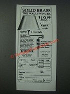 1986 Robelier Wall Swinger Lamp Ad