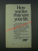 1986 American Cancer Society Ad - How You Live May Save Your Life