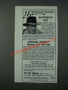 1986 P&S Sales Stetson Indiana Jones Deluxe Fur Felt Hat Ad
