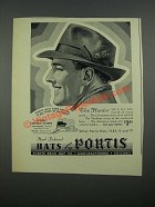 1938 Portis The Hunter Hat Ad - Hand Fashioned Hats