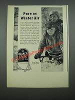 1938 Quaker State Motor Oil Ad - Pure as Winter Air