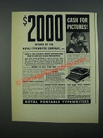 1938 Royal Portable Typewriters Ad - $2000 Cash for Pictures