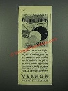 1938 Vernon Authentic California Pottery Ad - For a Colorful Gift