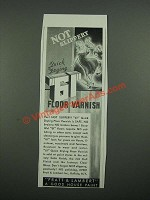 1938 Pratt & Lambert 61 Floor Varnish Ad - Not Slippery