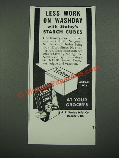 1938 Staley's Gloss Starch Cubes Ad - Less Work on Washday