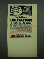 1938 Vicks Cough Drops Ad - Give Your Throat This Medicated Bath