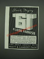 1938 Pratt & Lambert 61 Floor Varnish Ad - Quick Drying 61